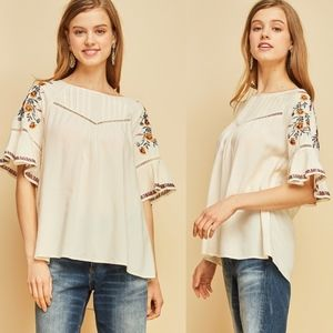 ELLIE Embroidered Top - NATURAL